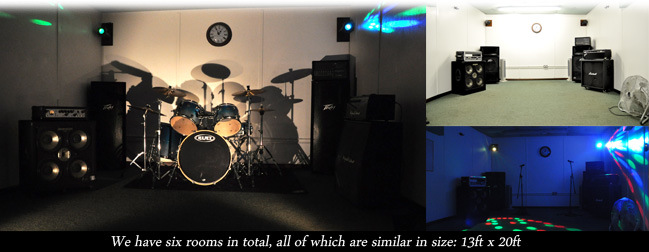 rehearsal rooms We have six rooms in total, all of which are similar in size: 13ft x 20ft